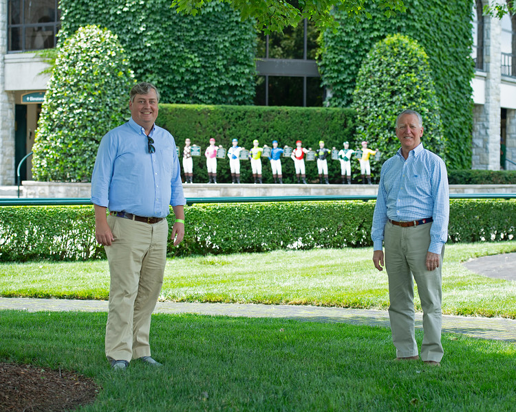 Caption: social distancing<br /> (L-R): Drew Fleming with Bill Thomason at Keeneland in Lexington, Ky., on June 19, 2020 Keeneland in Lexington, KY.
