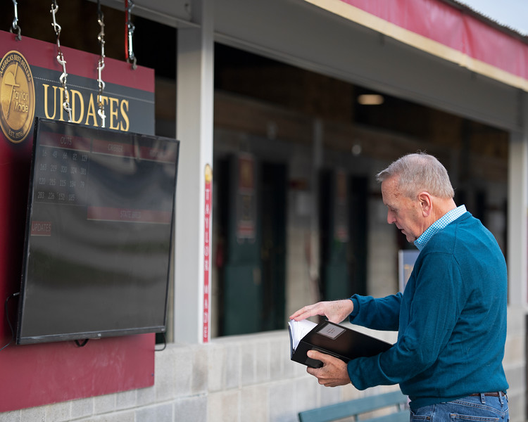 Announcer John Henderson checking updates at Taylor Made as he visits consignments prior to the sales. Scenes during the Keeneland January sales on Jan. 11, 2020 Keeneland in Lexington, KY.