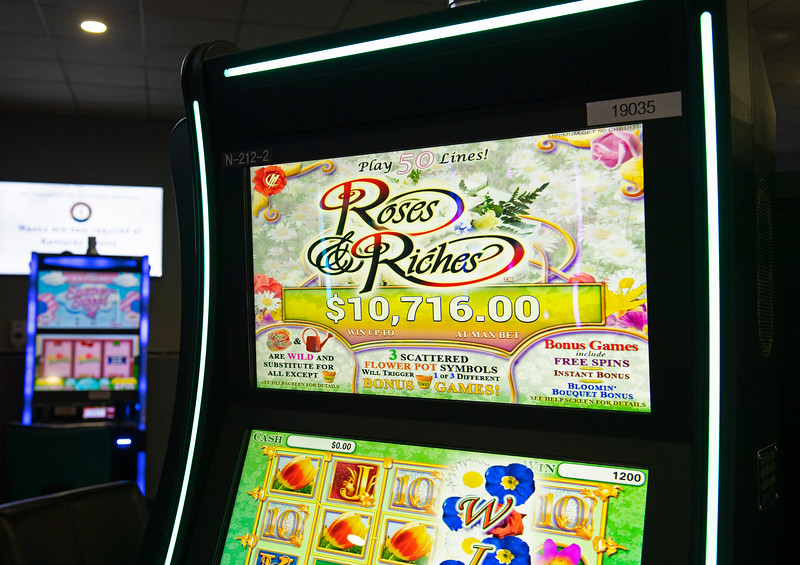 Caption: slot machines<br /> Ted Nicholson, general manager and senior Vice President at Kentucky Dpwns near Franklin, Ky. on July 28, 2020 Kentucky Downs in Franklin, KY.