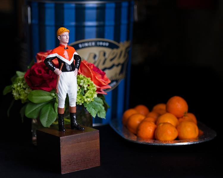 Glen Hill Farm consignment with farm silks jockey statue, oranges from Florida and Garretts famous popcorn. Scenes during the Keeneland January sales on Jan. 11, 2020 Keeneland in Lexington, KY.
