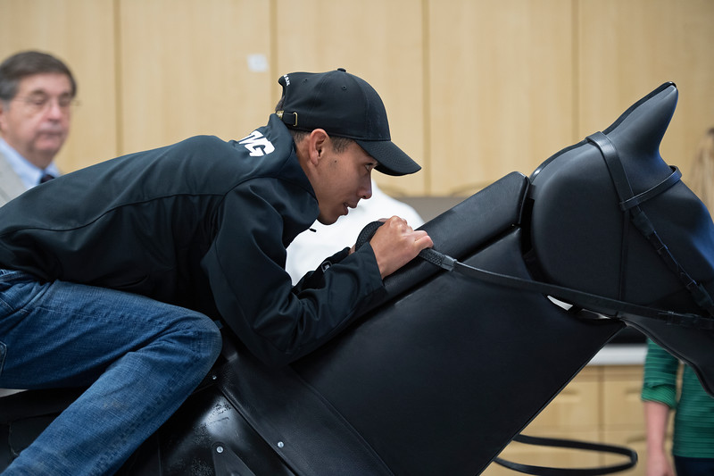 Jose Ortiz on the Racehorse Simulator<br /> Jockey Equestrian Initiative at University of Kentucky Sports Medicine Research Institute<br />  on April 11, 2019 in Lexington, Ky.