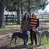 L-R: Pamela Deegan and Jackie Ramos with greyhounds Ella, left, and Sobie at Ashleigh Stud on<br /> Feb. 22, 2020 Ashleigh Stud in Paris, KY.