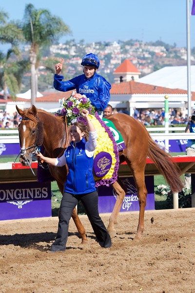 William Buick celebrates winning the Breeders Cup Filly and Mare Turf atop Wuheida on November 4, 2017. Photo by Anne Eberhardt.