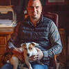 Waldorf Farm manager Kenny Toye with his puppy Kenji hangs out in the office on the farm Saturday Oct. 10, 2020 in North Chatham, N.Y.   Photo by Skip Dickstein