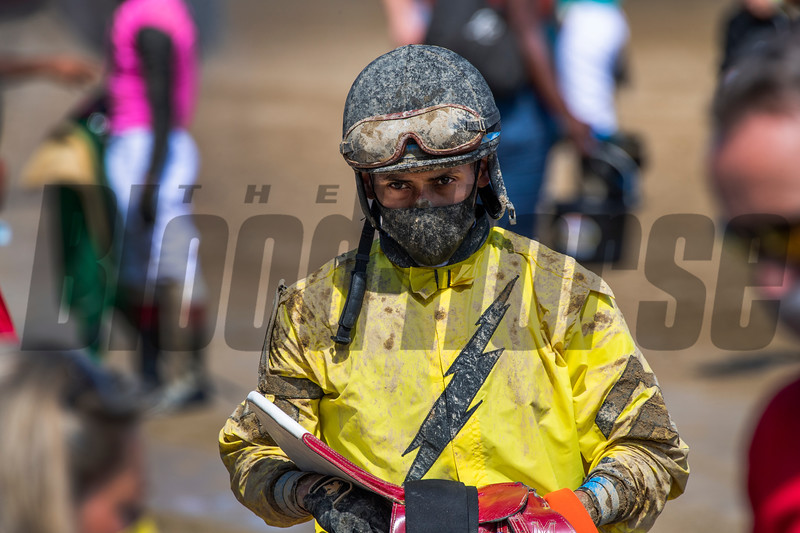 Jockey Manny Franco returns to the dismount area after a race at the Saratoga Race Track July 2020.  Photo by Skip Dickstein