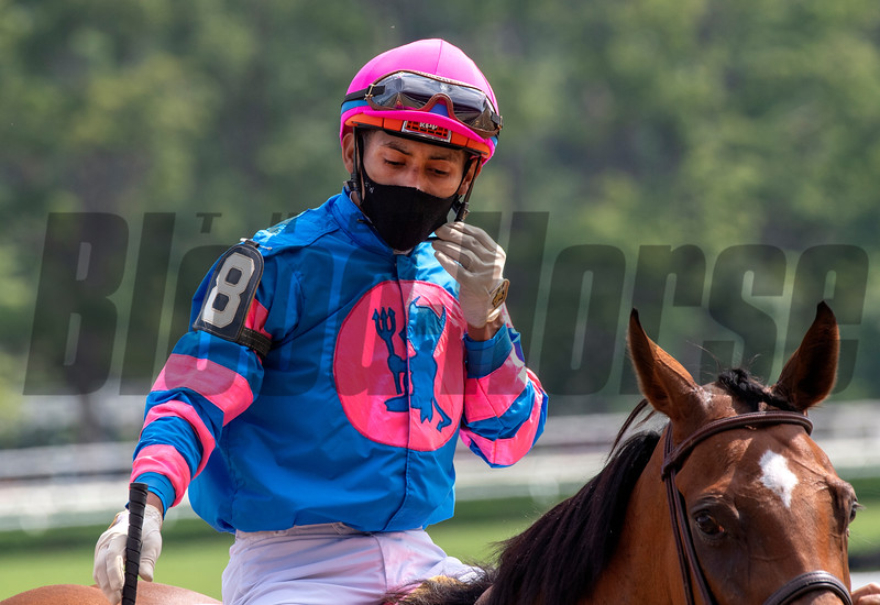 Jockey Manny Franco returns to the dismount area at the Saratoga Race Track July 2020. Photo by Skip Dickstein