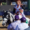 John Velasquez celebrates after winning the Breeders Cup Mile atop World Approvalon November 4, 2017. Photo by Skip Dickstein.