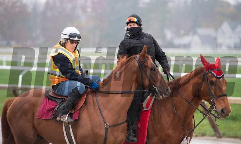 Second of July with former jockey Robbie Davis is ponied out to the track at the Oklahoma Training Center before his breeze Wednesday Oct. 28, 2020 in Saratoga Springs< N.Y.   Photo by Skip Dickstein