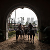 Outriders gather before the Marathon Stakes (G II) at Del Mar on November 3, 2017. Photo by Skip Dickstein.