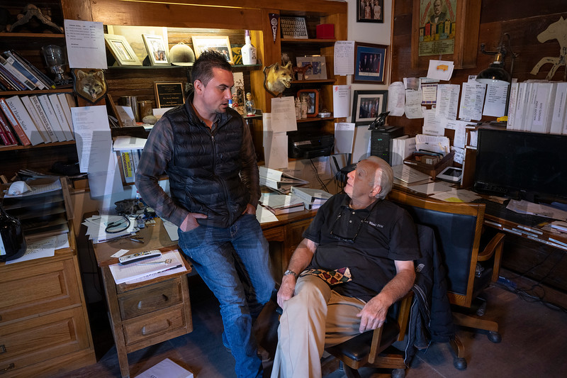 Waldorf Farm manager Kenny Toye with farm owner Dr. Jerry Bilinski in his office on the farm Saturday Oct. 10, 2020 in North Chatham, N.Y.   Photo by Skip Dickstein