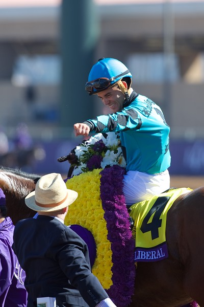 Joel Rosario celebrates winning the Breeders Cup Turf Sprint atop Stormy Liberal on November 4, 2017. Photo by Skip Dickstein