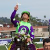 Javier Castellano celebrates winning the Breeders Cup Juvenile Fillies Turf atop Rushing Fall at Del Mar on November 3, 2017. Photo by Skip Dickstein.
