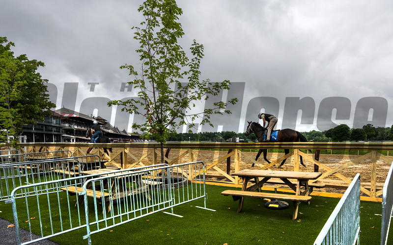 The view from the new seating area in the Clubhouse Turn at the Saratoga Race Course  Monday July 13, 2021 in Saratoga Springs, N.Y. . Photo by Skip Dickstein
