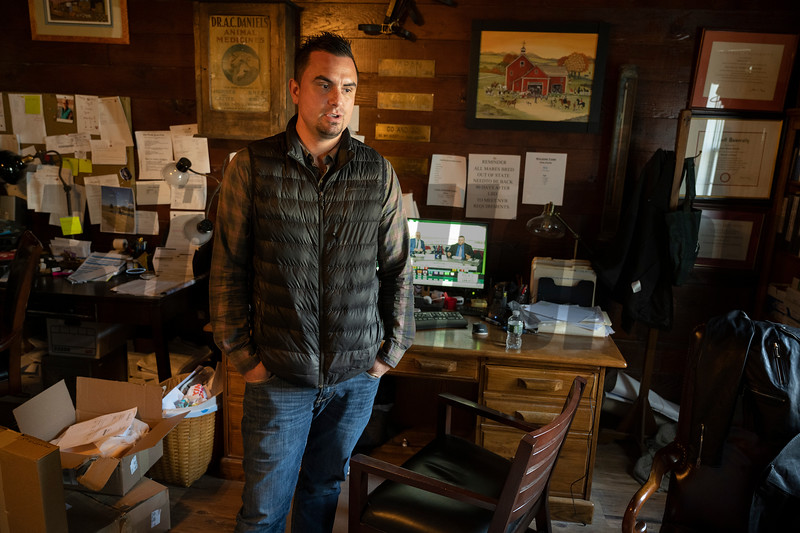 Waldorf Farm manager Kenny Toye in his office on the farm Saturday Oct. 10, 2020 in North Chatham, N.Y.   Photo by Skip Dickstein