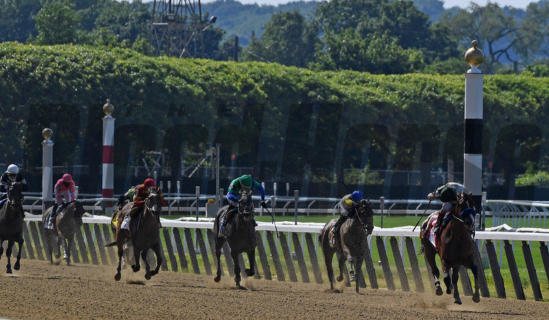 Gamine with John Velazquez wins Acorn Stakes (G1) at Belmont Park.