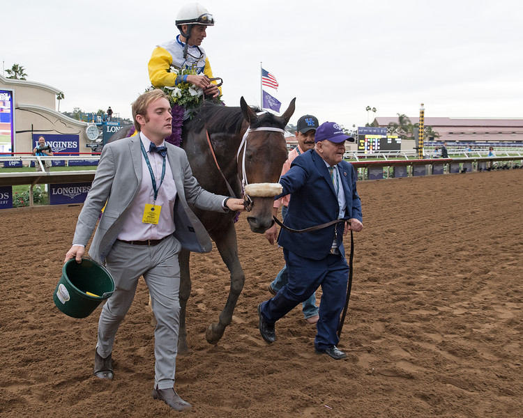 Charles Fipke, right, walks in Forever Unbridled wins the Breeders Cup Distaff on November 3, 2017. Photo by Anne Eberhardt.
