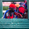 Jockey Manny Franco gets set for a start from the starting gate at the Saratoga Race Track July 2020. Photo by Skip Dickstein