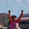 Mike Smith celebrates winning the 14 Hands Juvenile Fillies atop Caledonia Road at Del Mar on November 4, 2017. Photo by Skip Dickstein.