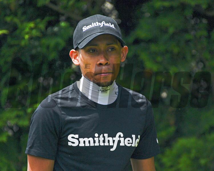 Manny Franco in Smithfield sponsorship hat. and shirt
