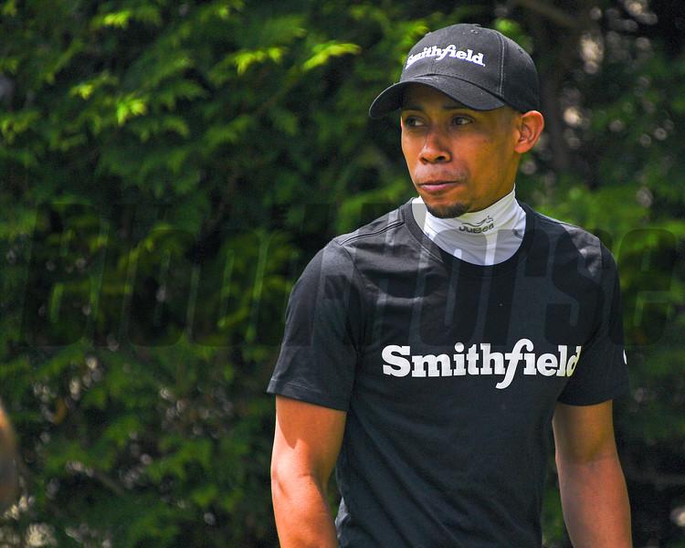 Manny Franco in Smithfield sponsorship hat.