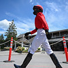 Jockey Manny Franco walks to the jockeys room after a race at the Saratoga Race Track July 2020.  Photo by Skip Dickstein