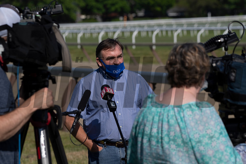 Trainer H. James Bond speaks with the media at the Oklahoma Training Center track as it opens for the first time this season Thursday June 4, 2020 in Saratoga Springs, N.Y.  Photo by Skip Dickstein