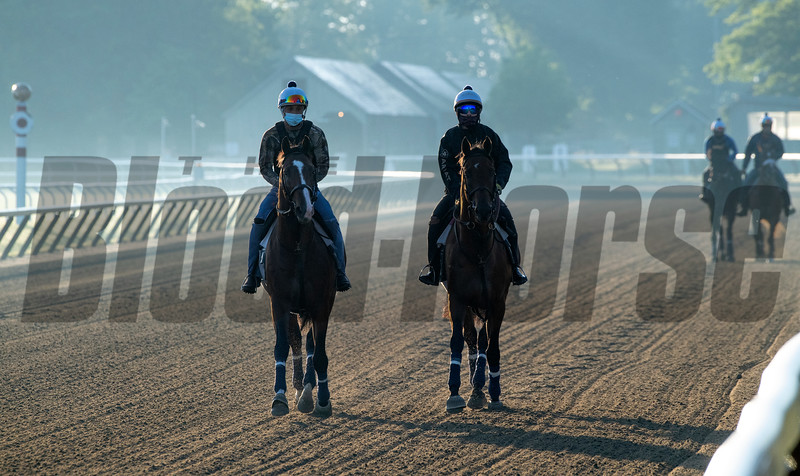 Horses trained by Chad Brown take to the Oklahoma Training Center track as it opens for the first time this season Thursday June 4, 2020 in Saratoga Springs, N.Y.  Photo by Skip Dickstein