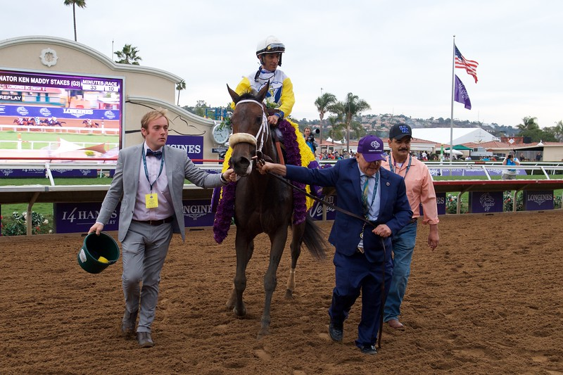Connections of Forever Unbridled celebrate winning the Breeders Cup Distaff on November 3, 2017. Photo by Anne Eberhardt.