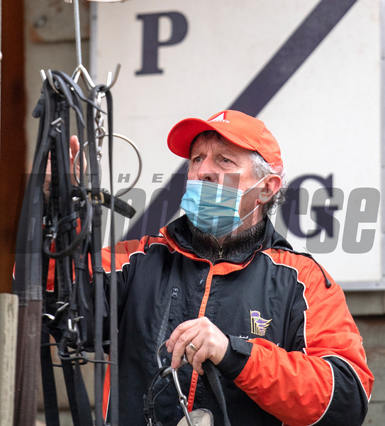 Trainer Phil Gleaves prepares for the breeze of his charge Second of July at the Oklahoma Training Center Wednesday Oct. 28, 2020 in Saratoga Springs< N.Y.   Photo by Skip Dickstein
