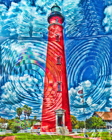 1st degree Fresnel lens superimposed on the Ponce Inlet Lighthouse