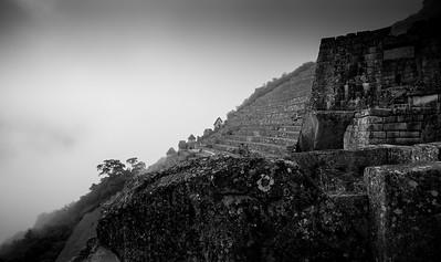 Machu Picchu Terrace in the mist