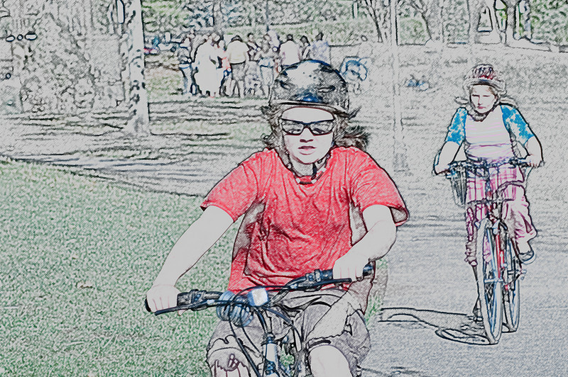Girls on Bikes<br /> Depot Park, Sonoma California