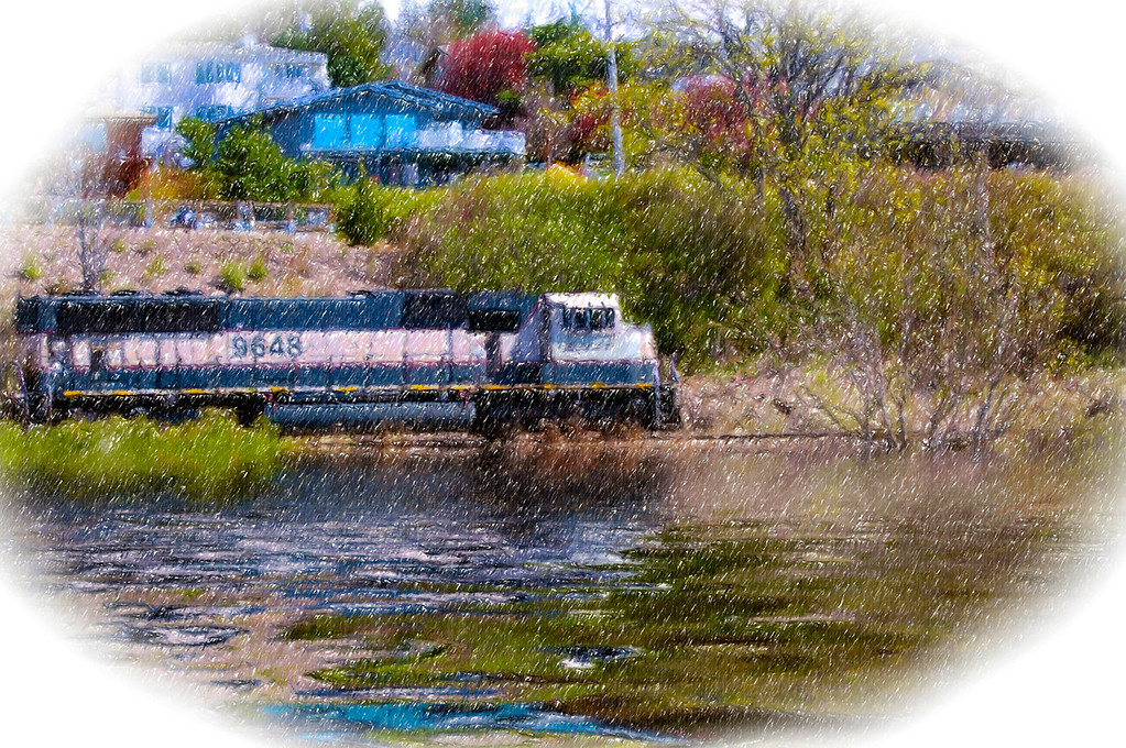 Train By The Bay<br /> Taylor Dock, Boulevard Park, Bellingham, Washington