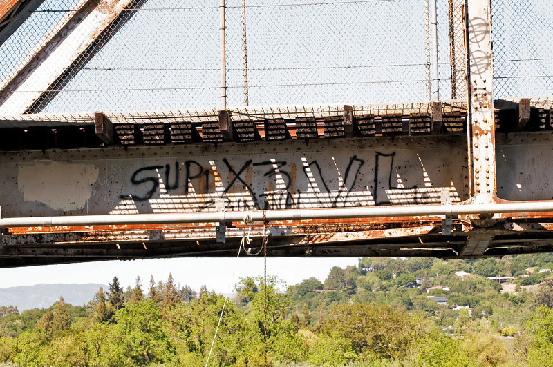 Train Tressel Graffiti<br /> Russian River, Healdsburg, California