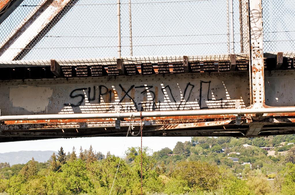 Train Tressel Graffiti<br /> Russian River, Healdsburg, California