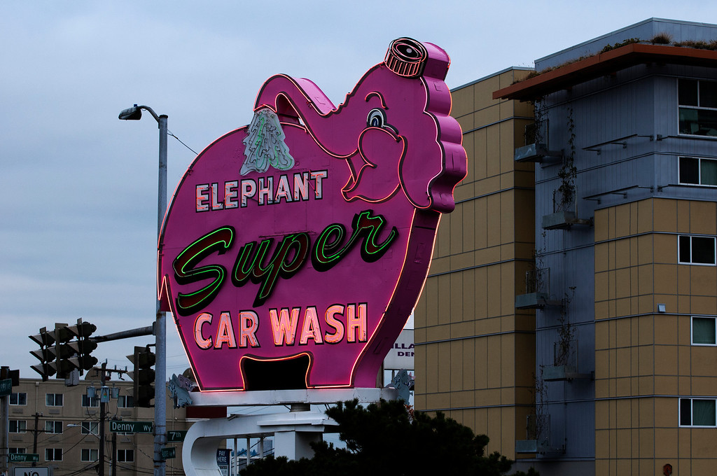 Elephant Super Car Wash Sign<br />  LOCATION: Seattle, Washington