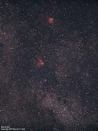 M16 & M17, Eagle and Swan Nebula