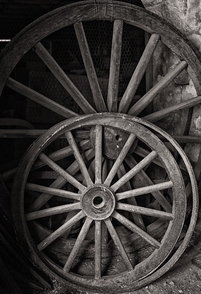 Wagon Wheels, Cellar of the Greathouse, Whim Plantation, St. Croix, US Virgin Islands