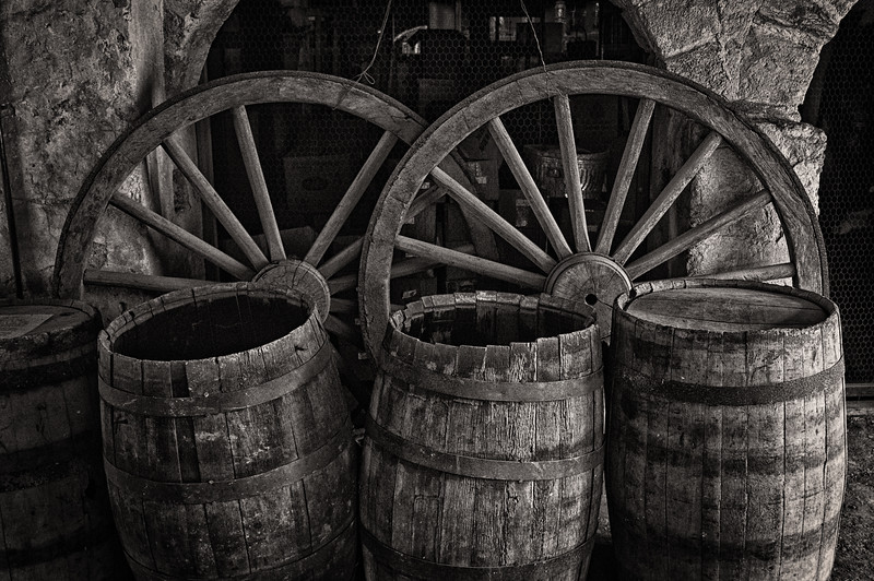 Wagon Wheels and Barrels, Cellar of The Greathouse, Whim Plantation, St. Croix, US Virgin Islands