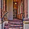 External corridor leading to wooden door, Ca' d'Zan Mansion, Ringling Museum, Sarasota, Florida