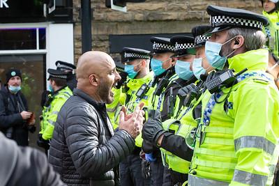 Demonstrator at the Bradford anti-lockdown protest