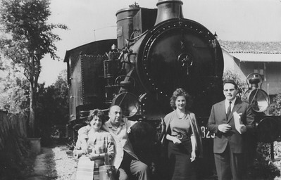 Alpignano, 1962. Matilde Urrutia, Pablo Neruda, Bianca Tallone and the translator Giuseppe Bellini.