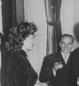 Paris, 1953. Bianca and Alberto Tallone at a reception.