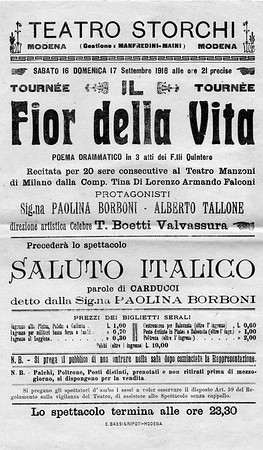 Before becoming antiquarian bookseller in 1925 in partnership with Walter Toscanini (Antiquariato Walter Toscanini & C., Via Cerva 19, Milan), Alberto experienced theater, making his debut at the age of 18 co-starring opposite Paolina Borboni in Il fior della vita written by the Quintero brothers played at the Teatro Storchi in Modena in 1916.