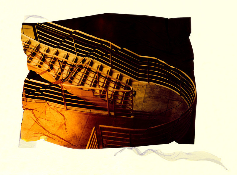 Stairs at Night, 2002<br /> Photographic Emulsion Transfer on Paper