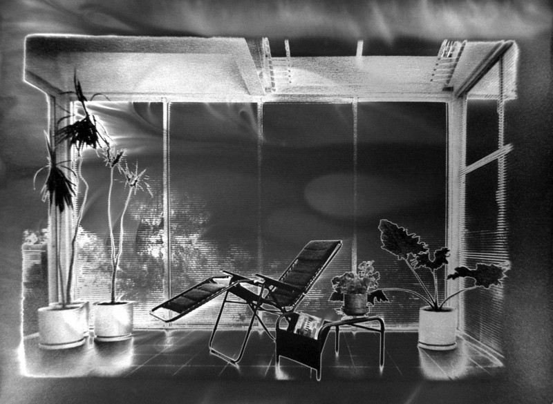 Escobedo's Clearstory, 1992<br /> Darkroom Solarization