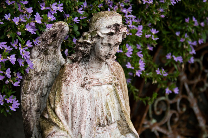 Angel with Purple Flowers