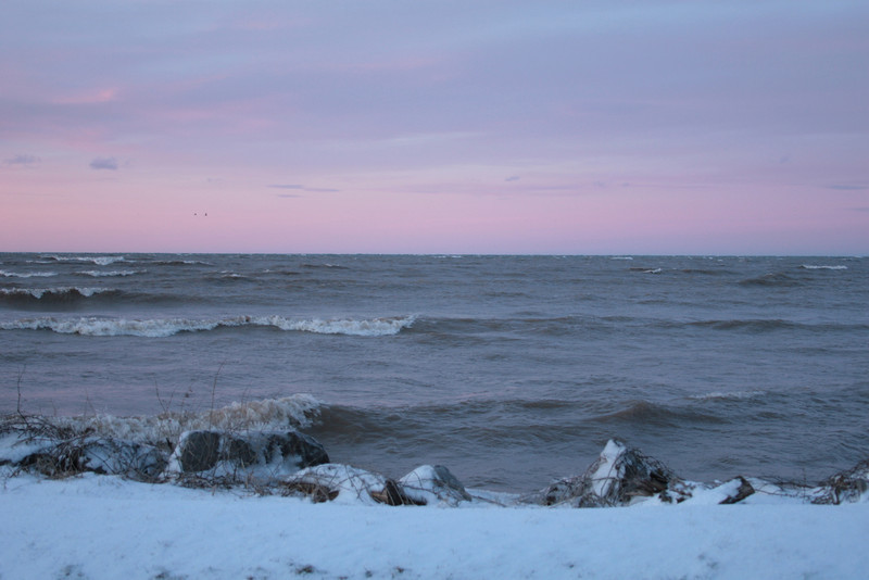Pink Sky over the Waves