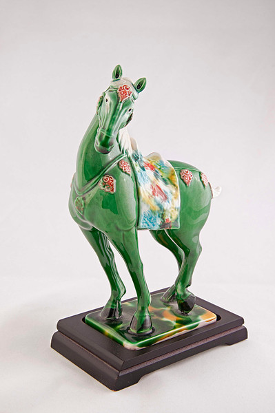 Photostacking software used on the Tang San Cai horse. With this focus improvement software we retain the fine details in the glossy glaze from chest to rump on this ceramic. If detail is important, this is the way to go.