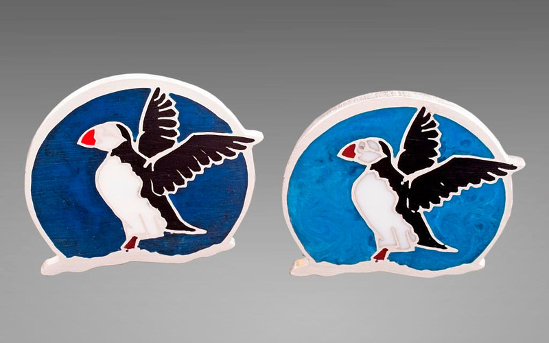Two versions of Puffins by Mary Ellen O'Connor